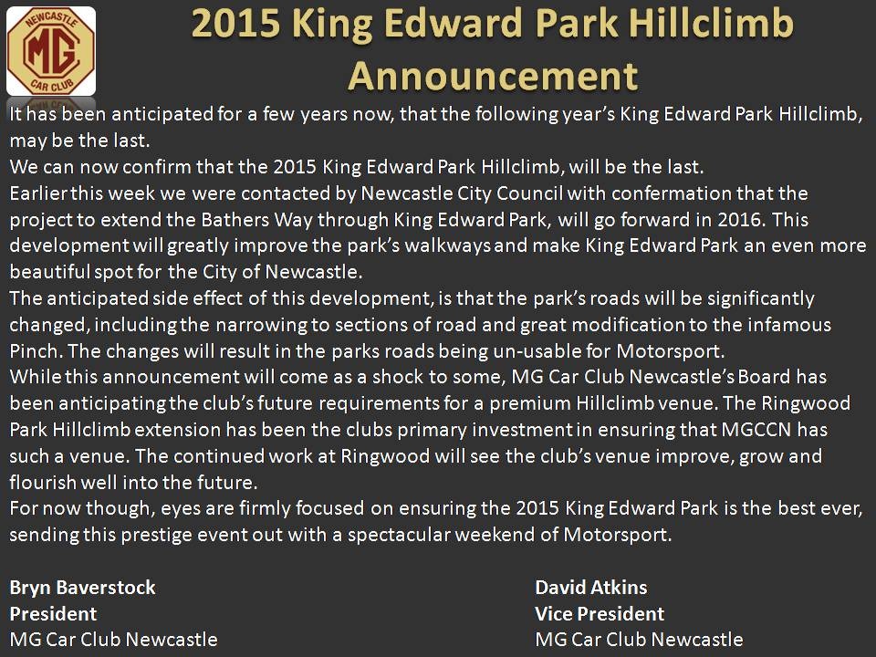 2015 King Edward Park Hillclimb Announcement